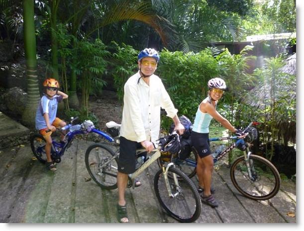 Alama, Gary and Alofa biking around Vanuatu