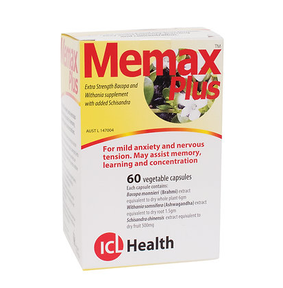 ICL Memax Plus Extra Strength Bacopa - 60 caps