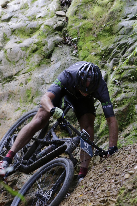 Gary semi-crashing on his mountain bike
