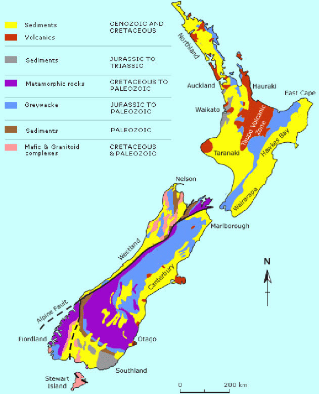 Geology Map of New Zealand