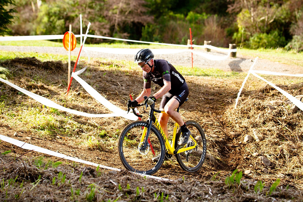 Gary cornering during a cyclocross race