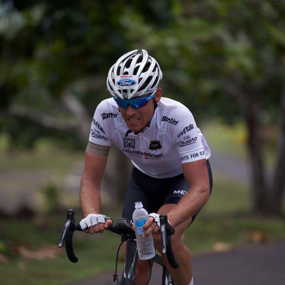Christian immediately before his crash during a race in Samoa