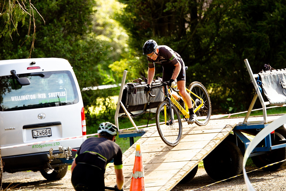 Gary negotiating a ramp in cyclocross