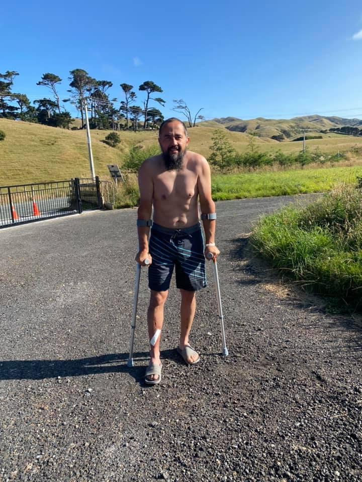 Brian on crutches