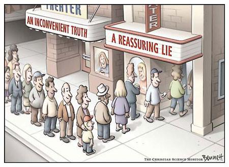 A reassuring lie cartoon