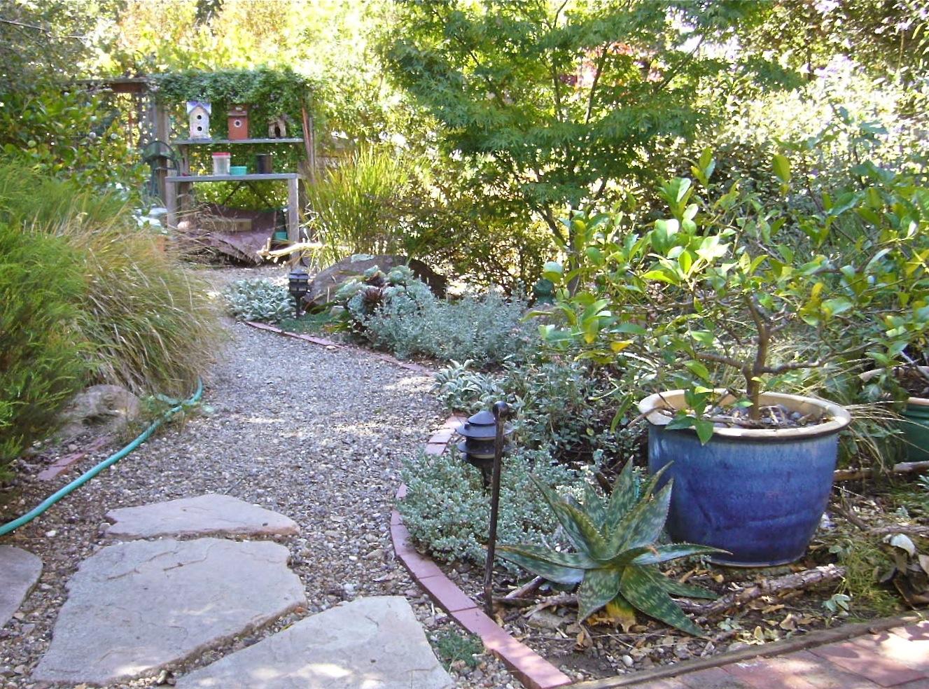 Backyard gravel path