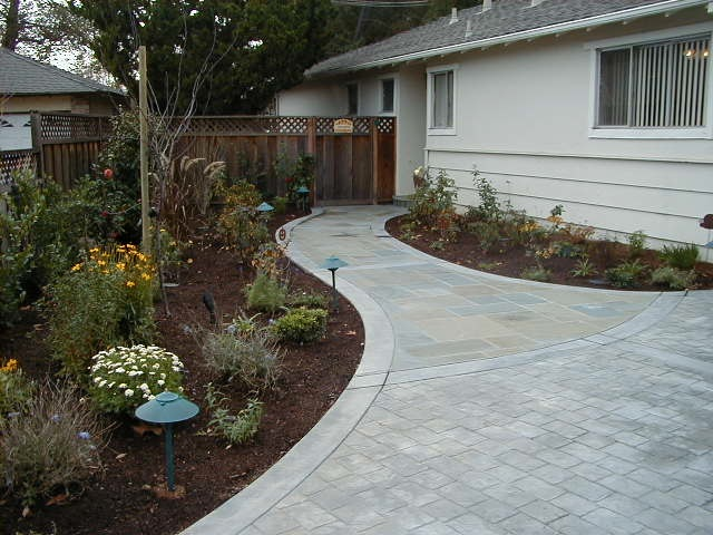 New walkway and plantings