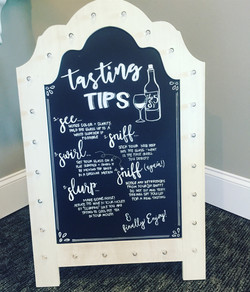 wine tasting chalkboard