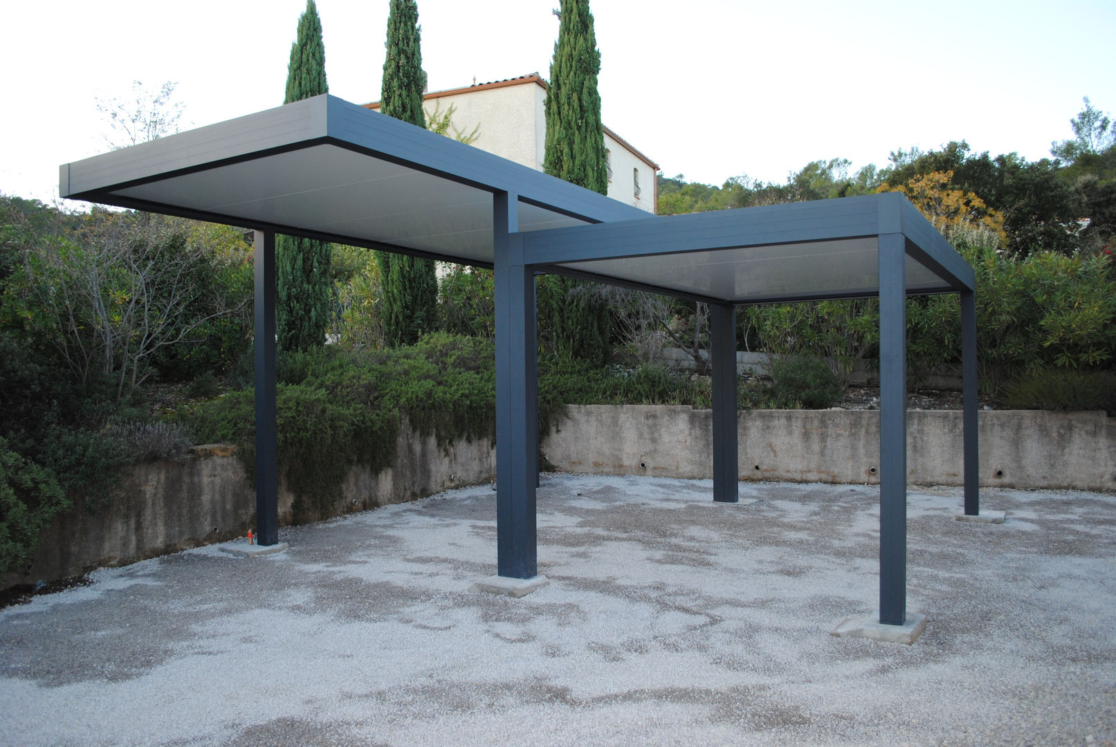 Construction d'un double carport alu