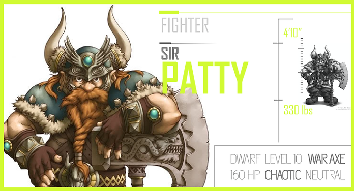 D&D Character Card for Dwarf Fighter