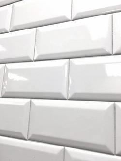 White Glossy Subway Bevel