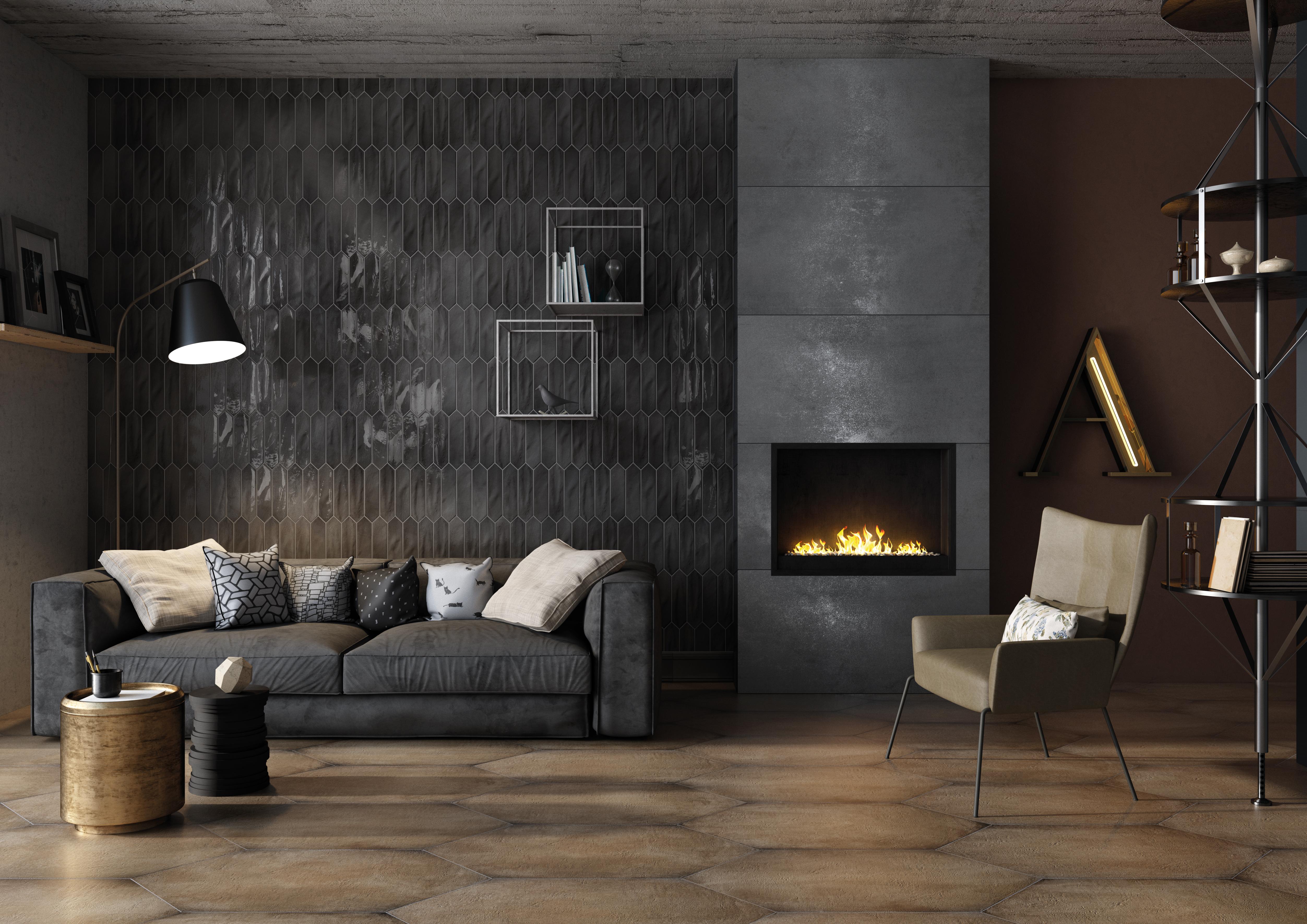 Amb charcoal 7,5x30 evoque coal 60x120 gea ocra 47,8x95,2