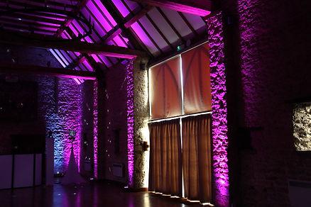 the great barn wedding venue lighting