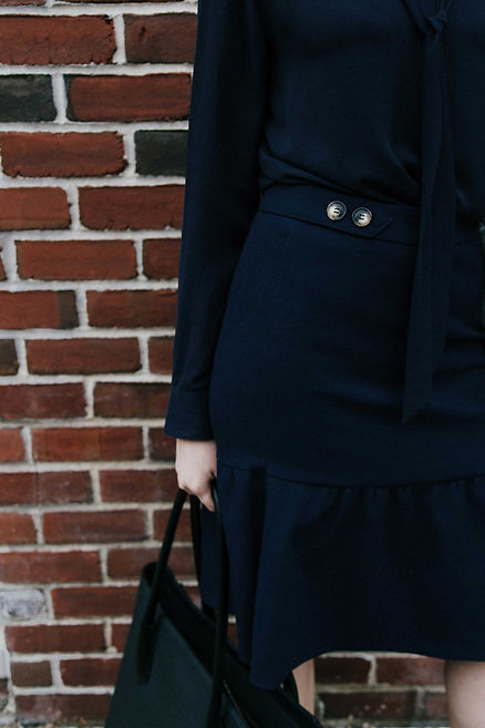 j.jackma navy skirt fo work business outfit inspiration