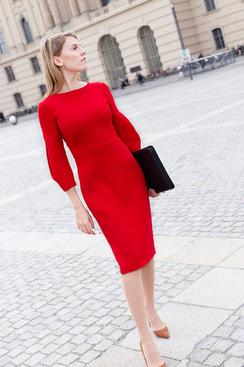 j.jackman ethical work wear red dress jacqueline