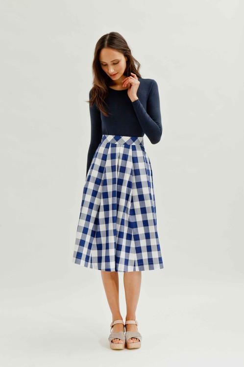 GABBY Midi Skirt in Organic Cotton Gingham | j.jackman ...