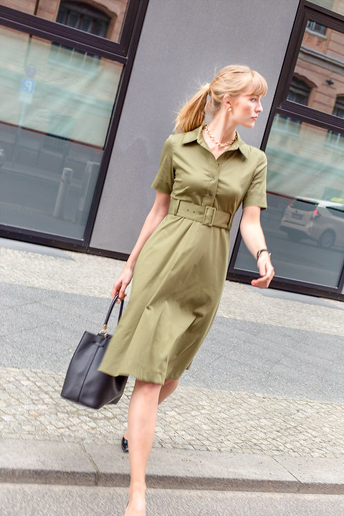 olive colored shirt dress with belt business outfit by j.jackman