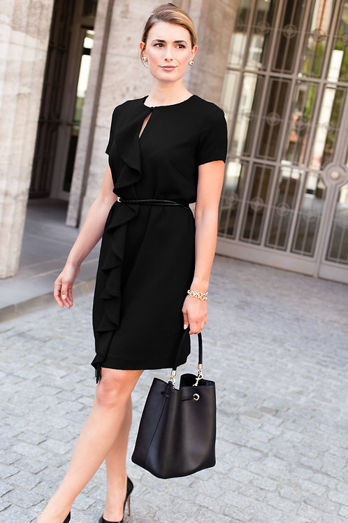 j.jackman sustainable business clothing black sheath dress NATALIE - main