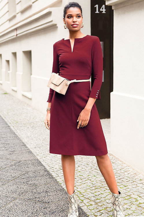 "j.jackman sustainable business dress a-line in bordeaux ""jill dress"" main image"