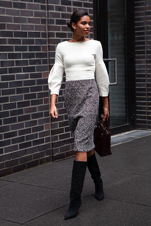 j.jackman sustainable business clothing jacqueline dress in white and black - main image