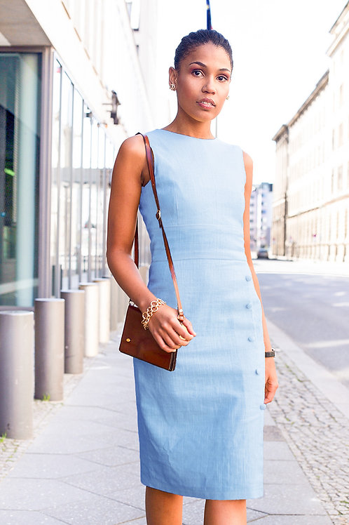 Linen shift dress in light blue from j.jackman