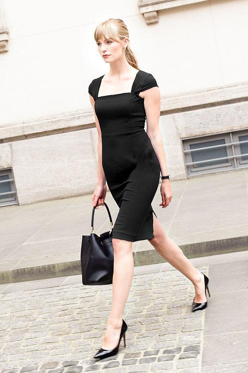 j.jackman sustainable business clothing square neck dress natalie black