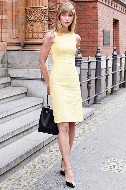 Linen shift dress in yellow from j.jackman