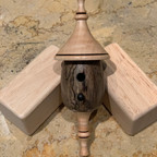 Birdhouse Ornament – Pecan Body with Curly Maple Roof & Finial and Ebony Perch - SOLD