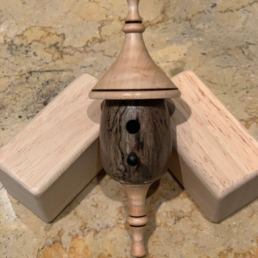 Birdhouse Ornament – Pecan Body with Curly Maple Roof & Finial and Ebony Perch