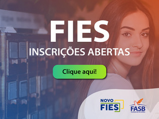 Novo FIES: Inscrições abertas para os cursos de graduação da FASB!