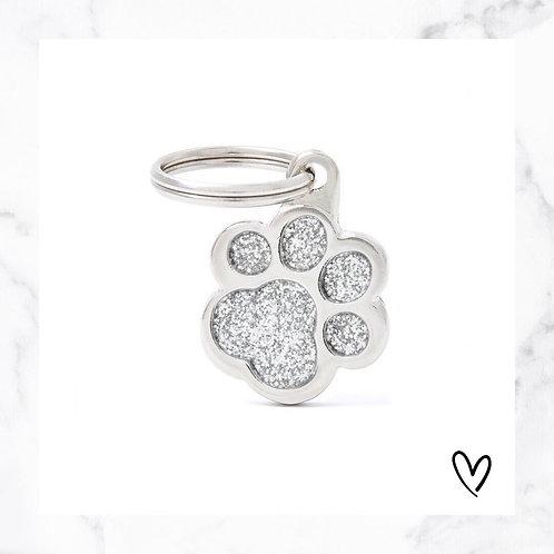 KLEA charm glitter paw silver