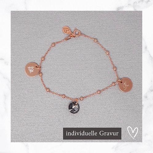 rosegold anchor bracelet with swarovski® pendant & engraving
