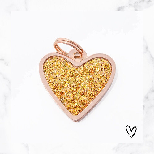 KLEA charm glitter heart rosegold