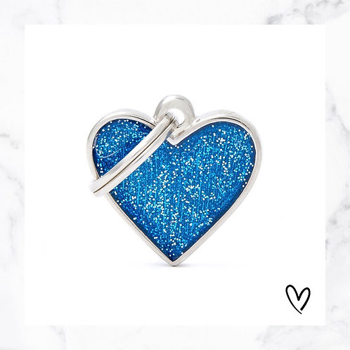KLEA charm glitter heart blue