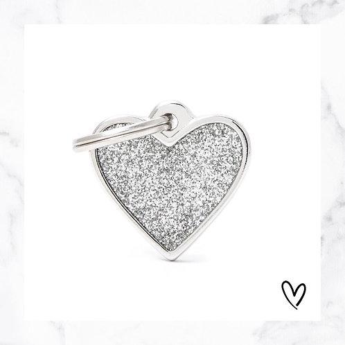 KLEA charm glitter heart silver