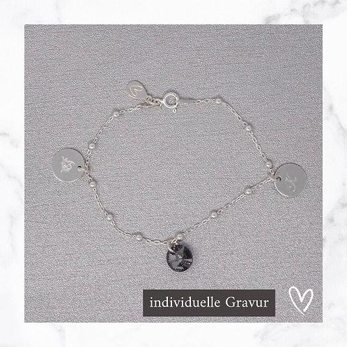 Ankerarmband Silber mit Swarovski® Anhänger & Gravur