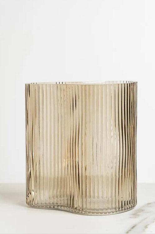 Ribbed Vase Smoky Latte