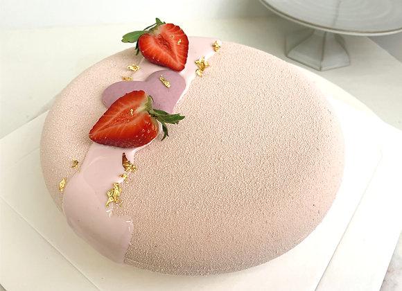 Vegan Strawberry love cake 7 inch size