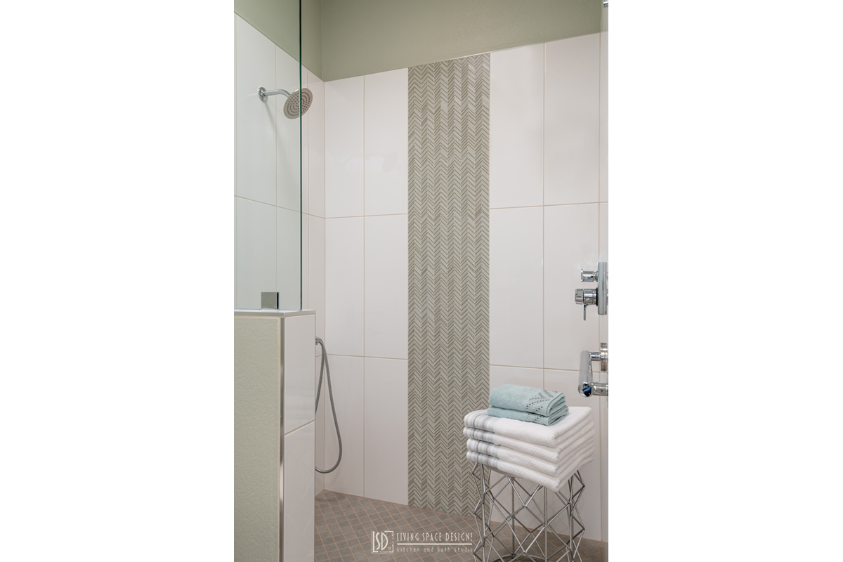 Contemporary-Shower-with-Elegant-Tile