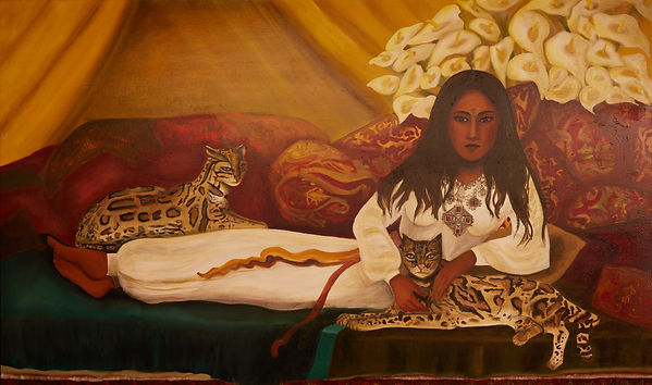 Reclining odalisque with ocelots and cal