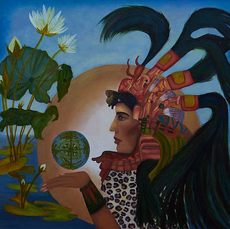 Water Lily Goddess with leopard and Quet