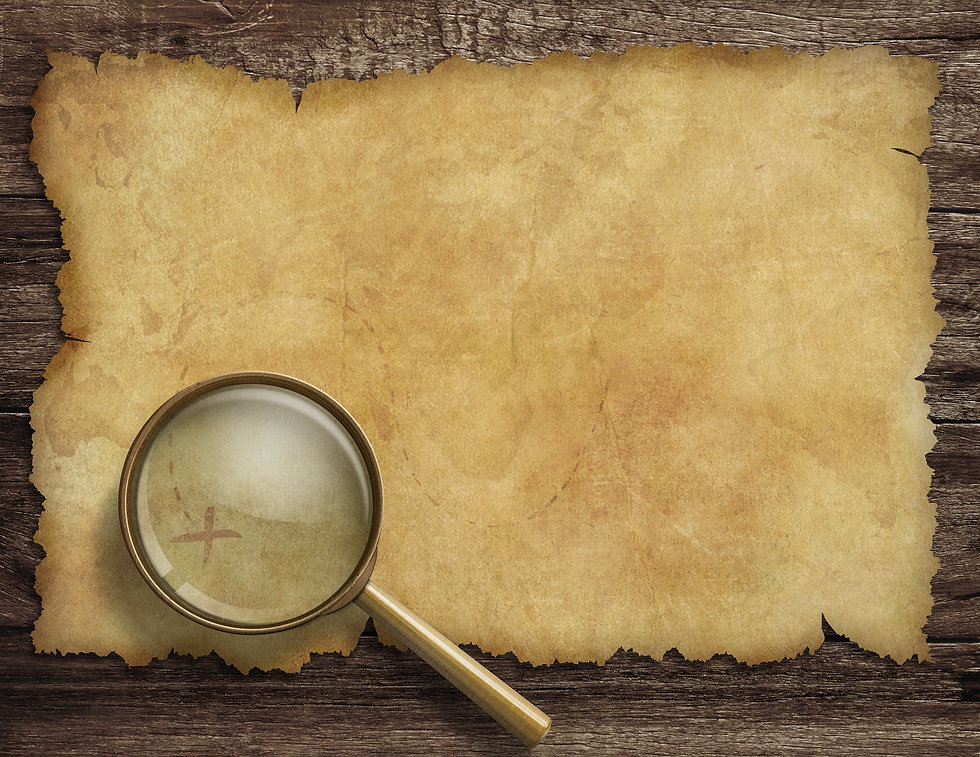 Pirates old treasure map on wooden desk