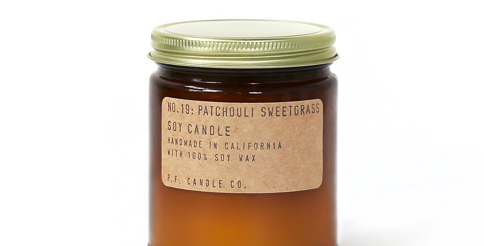P.F. Candle Co. No. 19 Patchouli Sweetgrass Standard Soy Jar Candle