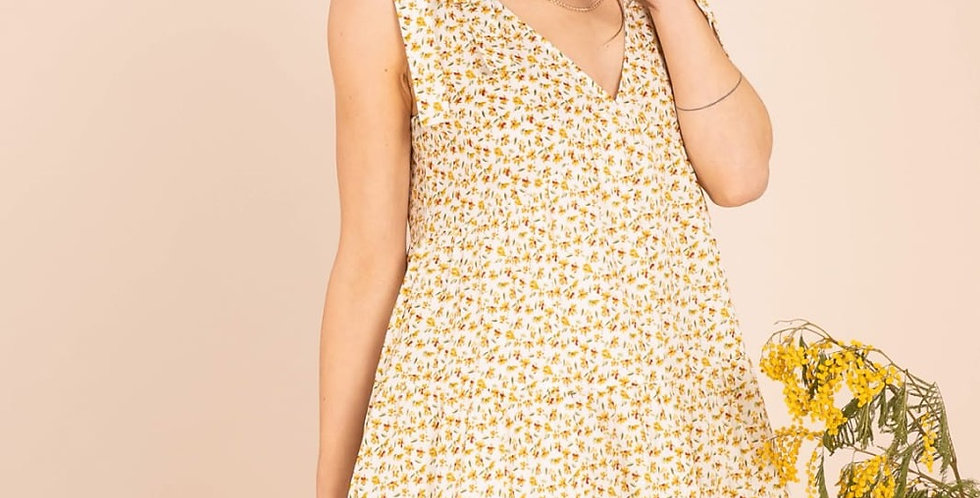 Amy Yellow Floral Dress