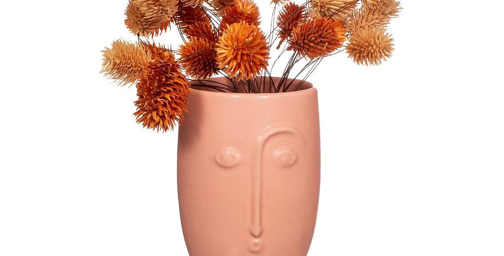 Face Vase Matt Pink