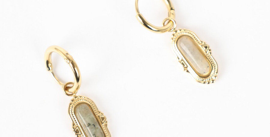 Emerald Stone Gold Earrings