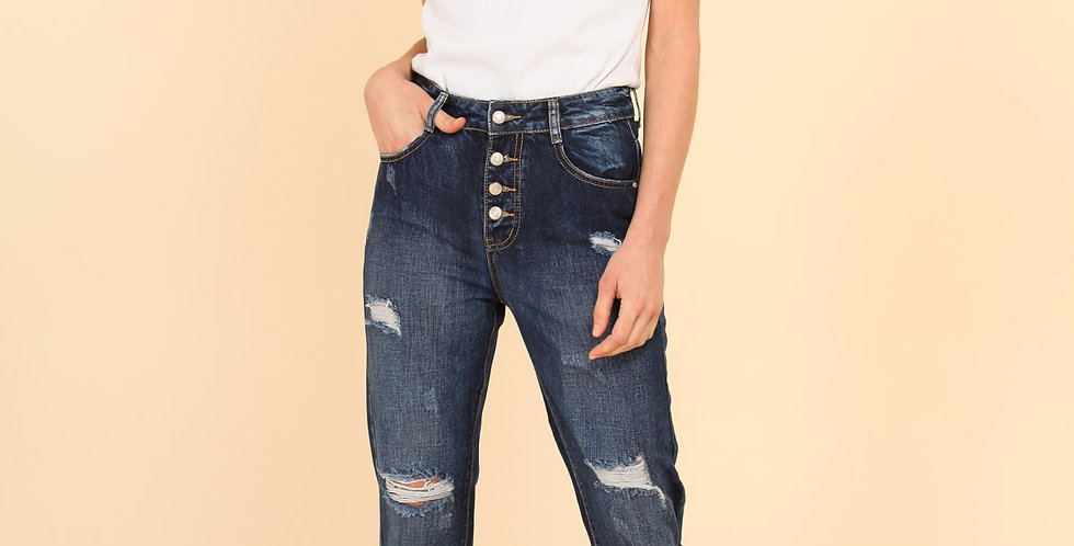 Ripped Dark Jeans - High Waisted