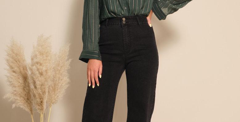 Flared High Waist Jeans - Black