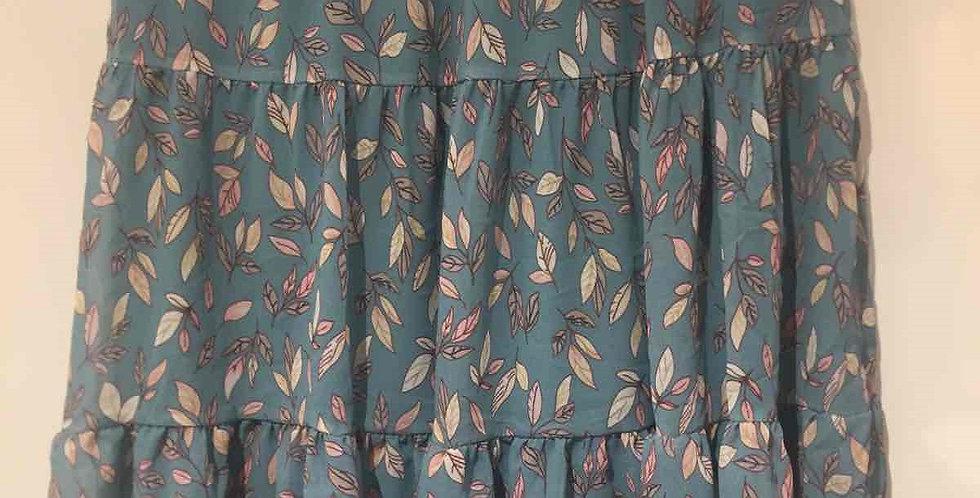 Blue Leaves Short Skirt