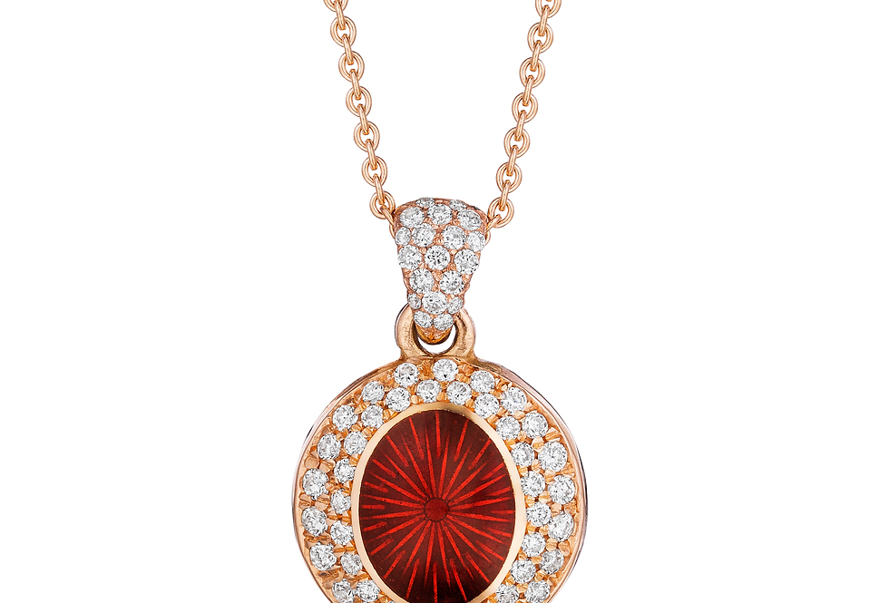 18ct rose gold diamond and red enamel pendant